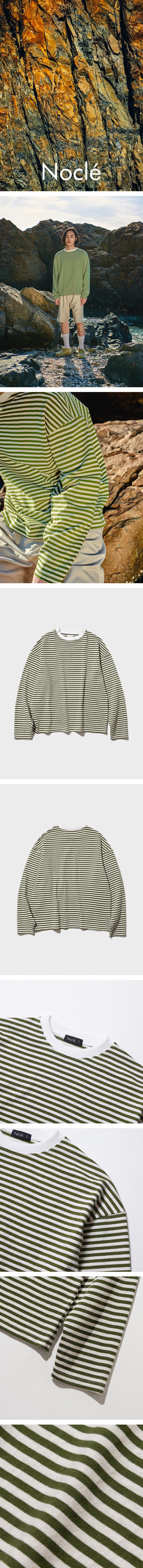 노클(NOCLE) Relax Stripe Tee Olive