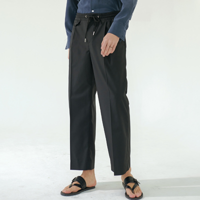 Wide banding slacks (black)