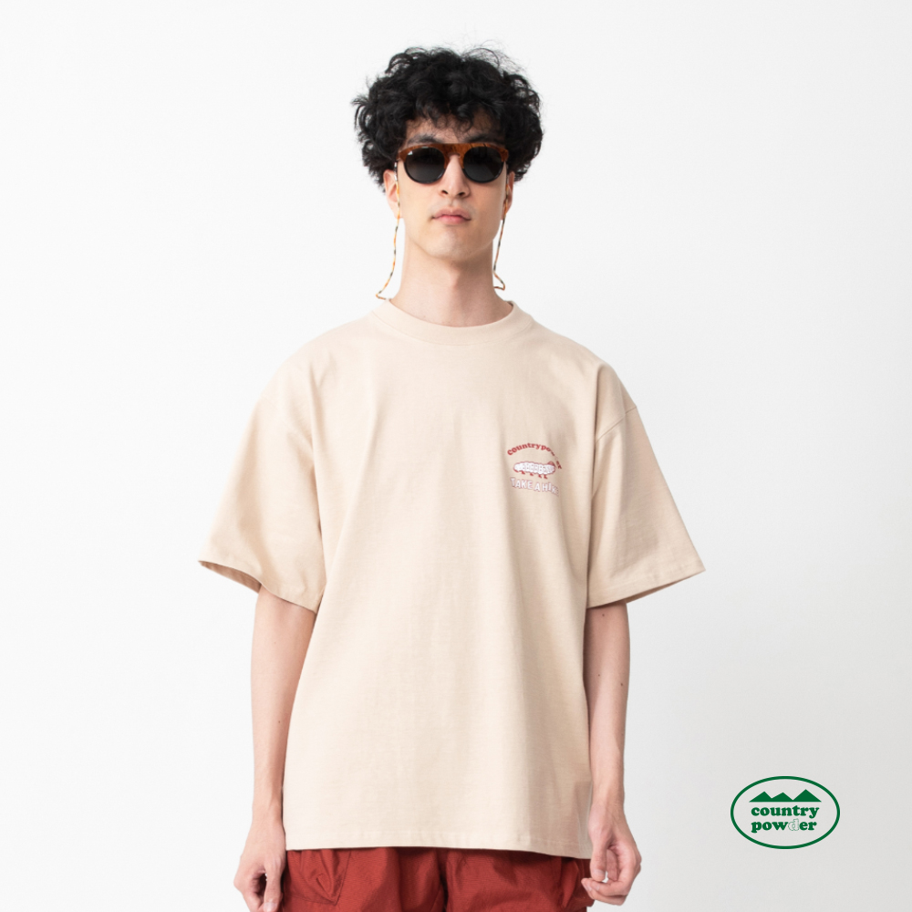 OVER FIT GRAPHIC T SHIRTS (BEIGE)