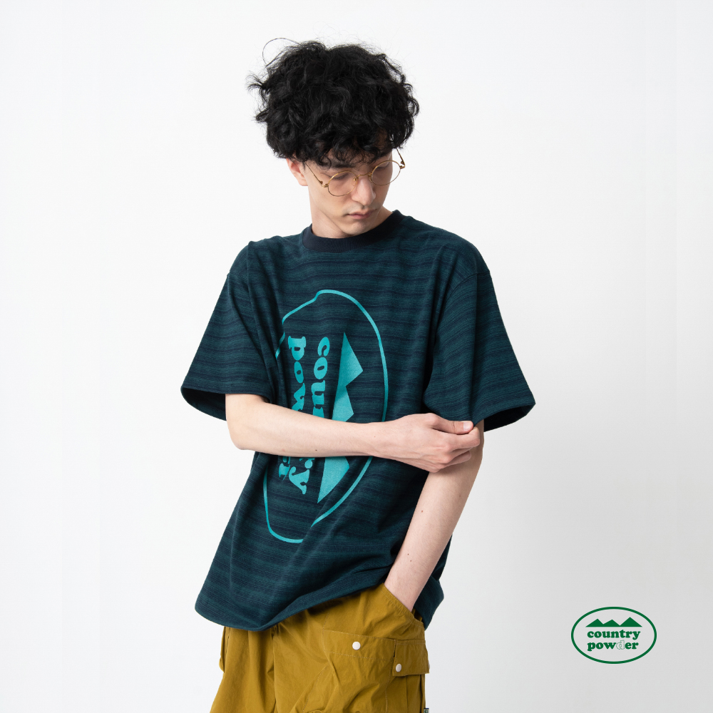 OVER FIT BIG LOGO T SHIRTS (GREEN&NAVY)