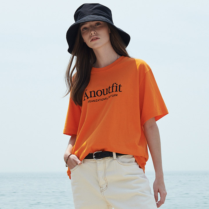 UNISEX SIGNATURE LOGO T-SHIRTS ORANGE