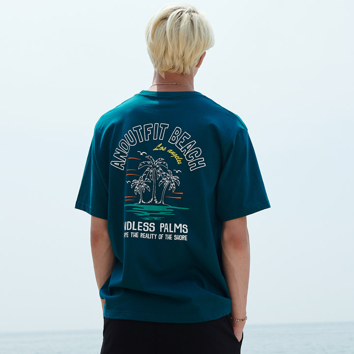 UNISEX PALM TREE HALF T-SHIRTS GREEN
