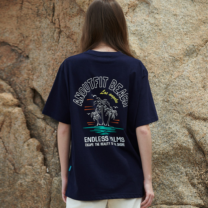 UNISEX PALM TREE HALF T-SHIRTS NAVY