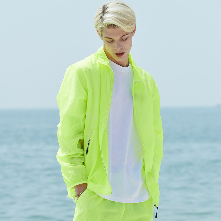 UNISEX MONO WINDBREAKER JACKET YELLOW GREEN