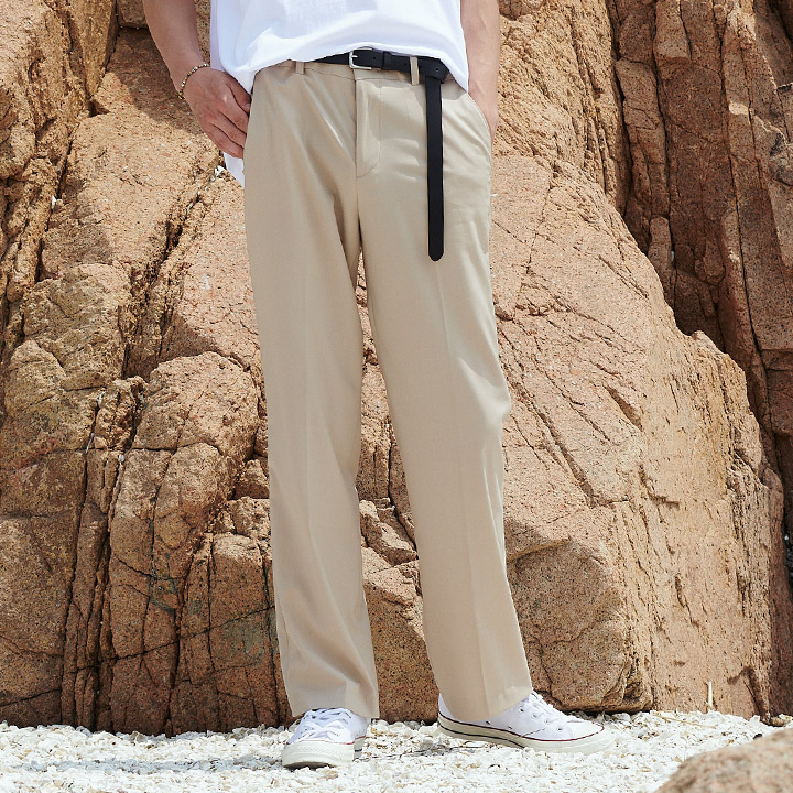 UNISEX LONG WIDE SLACKS BEIGE