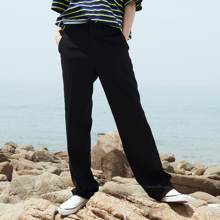 UNISEX LONG WIDE SLACKS BLACK