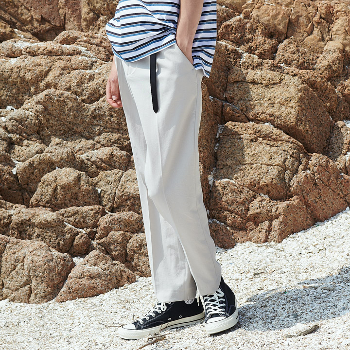 UNISEX SEMI TAPERED SLACKS BEIGE