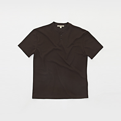 HENLEY NECK 2BT T-SHIRT [BROWN]