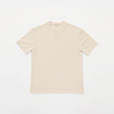 HENLEY NECK 2BT T-SHIRT [SAND]