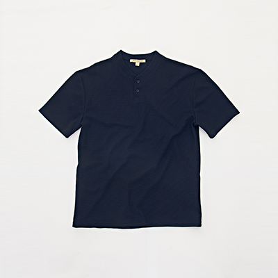 HENLEY NECK 2BT T-SHIRT [NAVY]