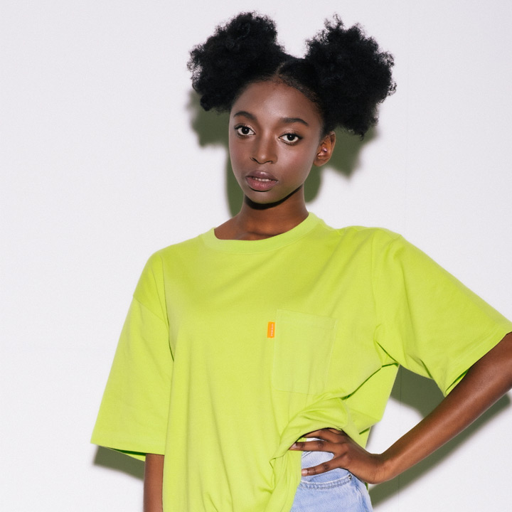 [VJ3TS006A]SIMPLE POCKET CB TEE LIME