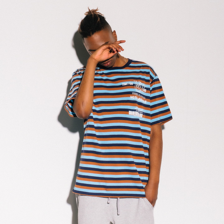 [VJ3TS003A]TIME TEE BLUE STRIPE