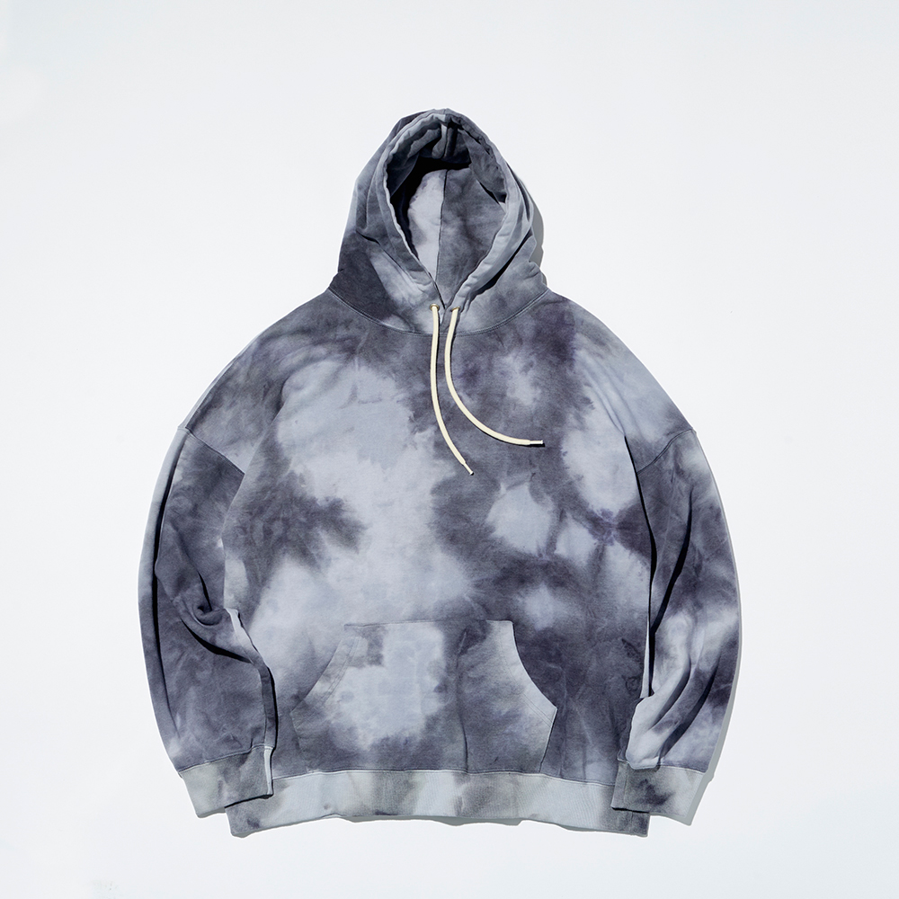 PLAIN TIE-DYE HOODY(PURPLE GRAY)