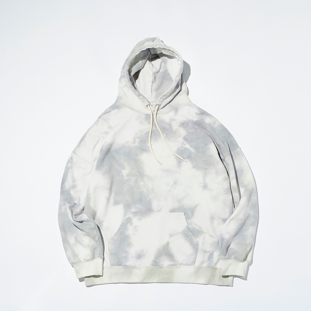 PLAIN TIE-DYE HOODY(LIGHT GRAY)