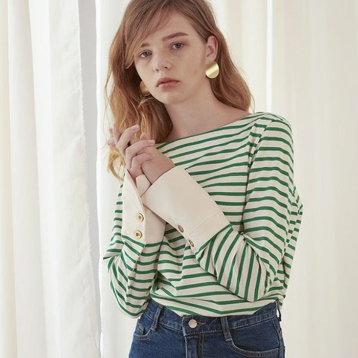 [YOUTUBER's pick]Stripe Cuffs T
