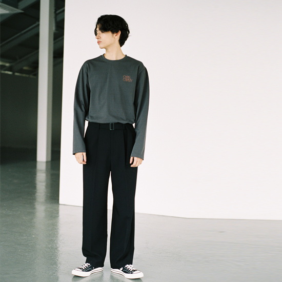 BLACK WIDE BELTED TROUSER (TC1PTVS0103)