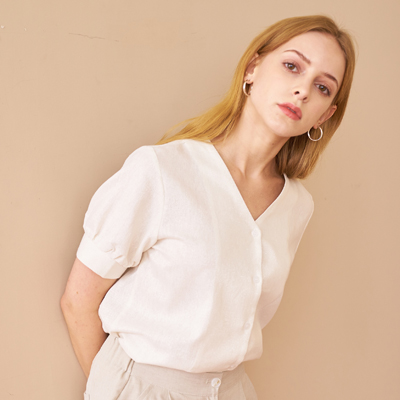SHIRRING SLEEVE SHIRTS_WHITE