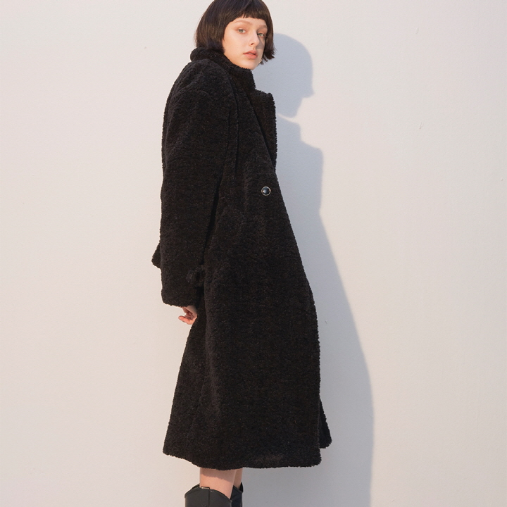 Teddy Bear Long Coat_Black