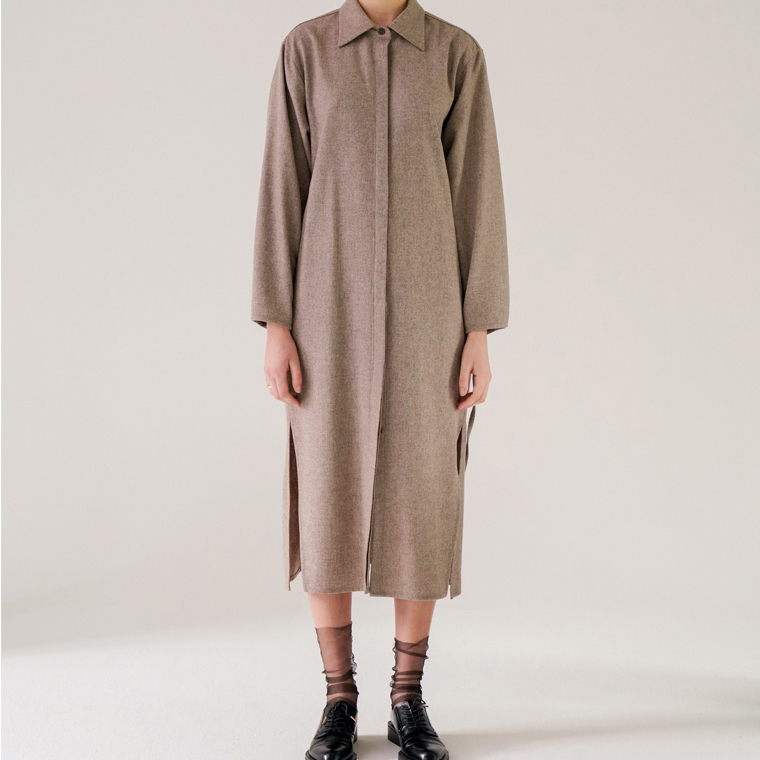 [카인다와이와이와이]Wool Blended Long Shirt(Beige)