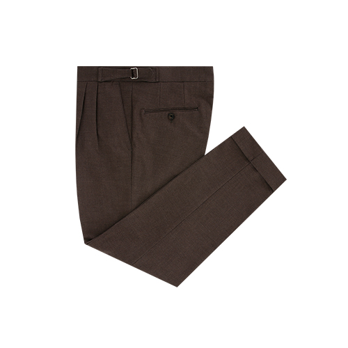 Brown two tuck adjust trousers (Brown)