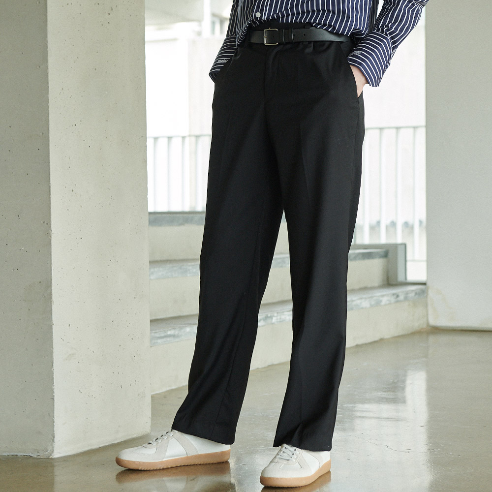 UNISEX LONG WIDE F SLACKS BLACK