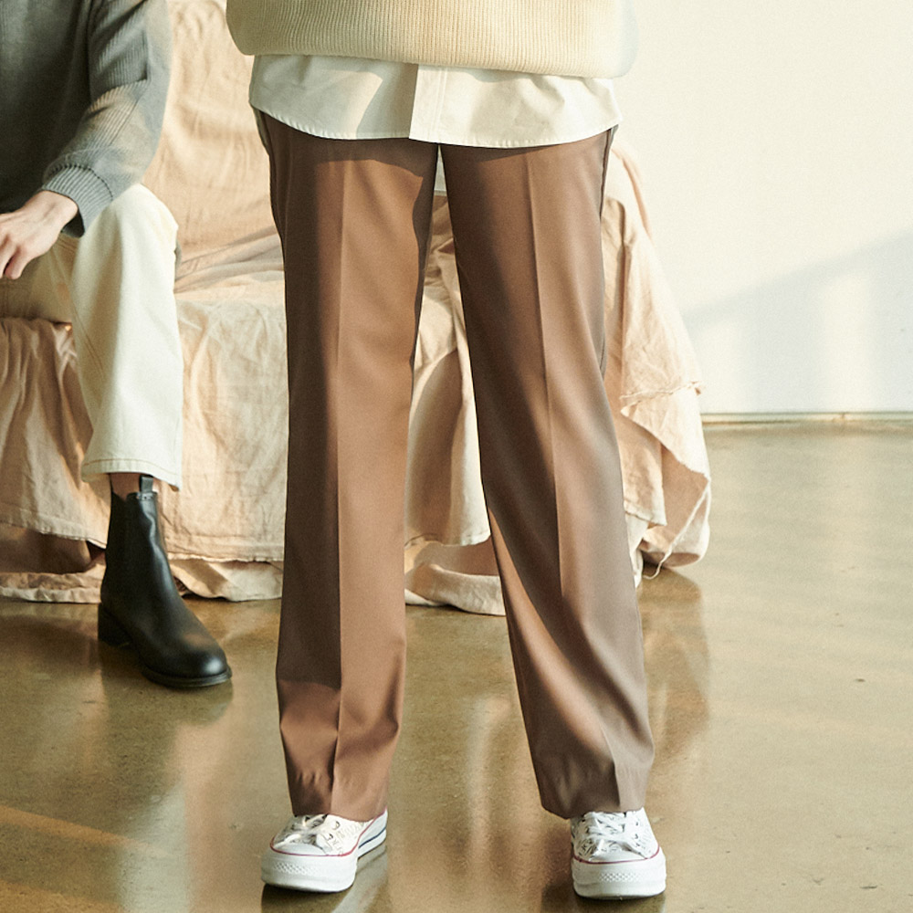 UNISEX LONG WIDE F SLACKS BEIGE