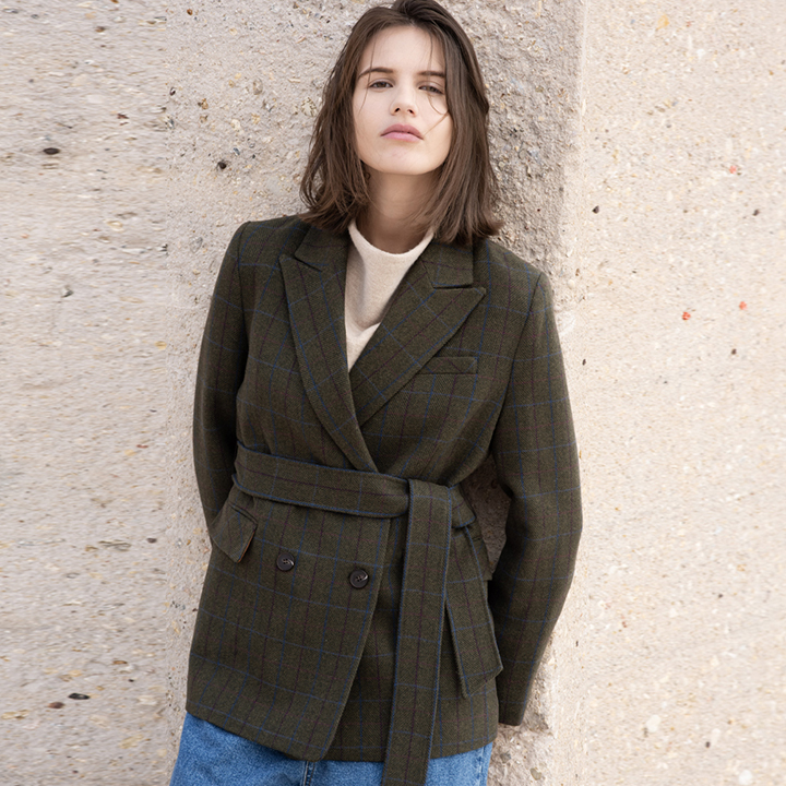 MOLLI BELTED DOUBLE JACKET (khaki)