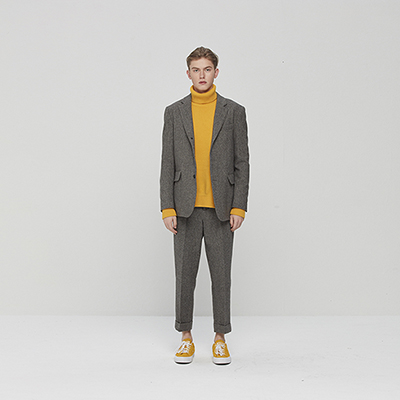Semi-over fit Turn up Set-up Pants Brown Herringbone