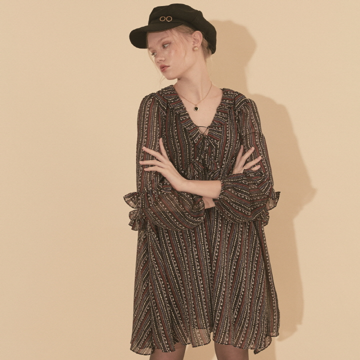 Chiffon Shirring Dress_ Black
