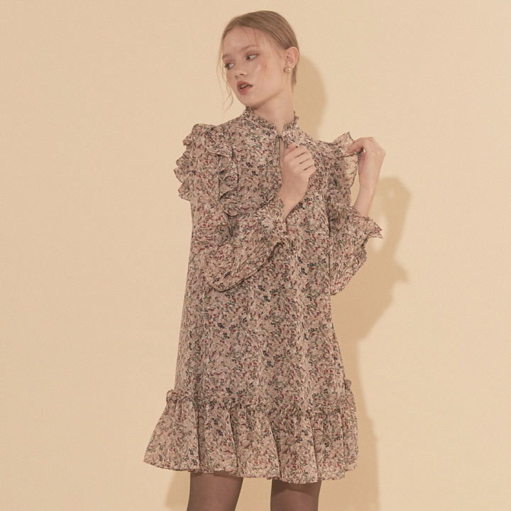 Chiffon Ruffle Mini Dress_ Taupe