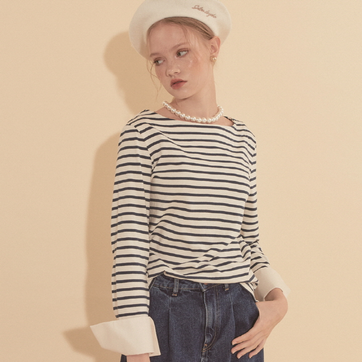 Stripe Cuffs T_ Dark Blue