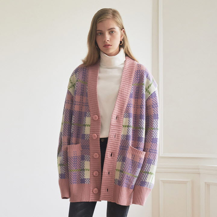 OVERSIZE CHECK CARDIGAN _ PINK-IVORY