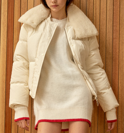 <br/>fur detail down jacket White