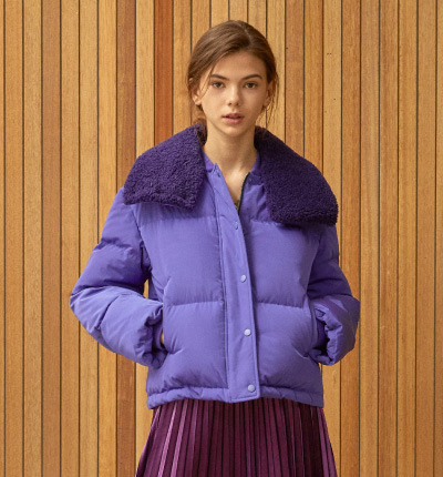 <br/>fur detail down jacket Purple