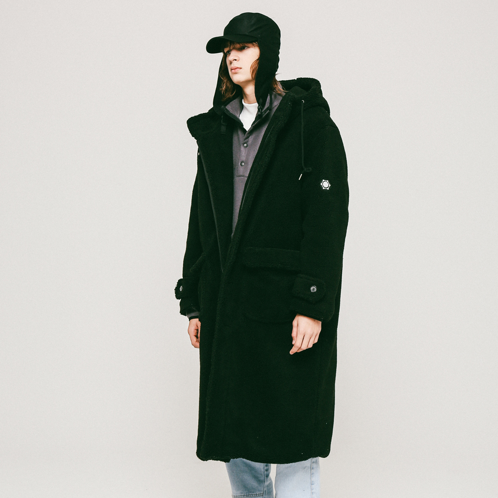 UNISEX DUMBLE HOOD COAT BLACK