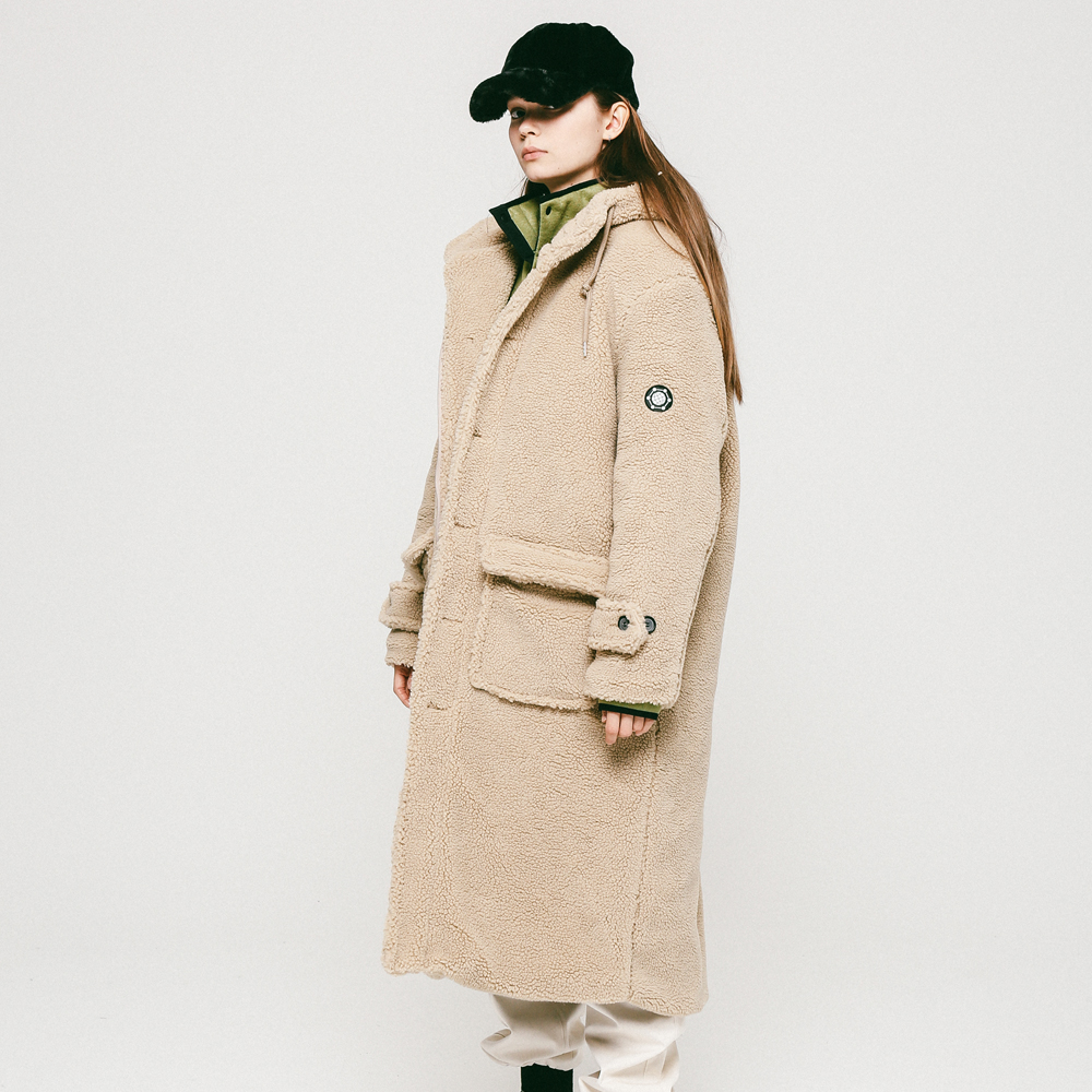 UNISEX DUMBLE HOOD COAT CREAM