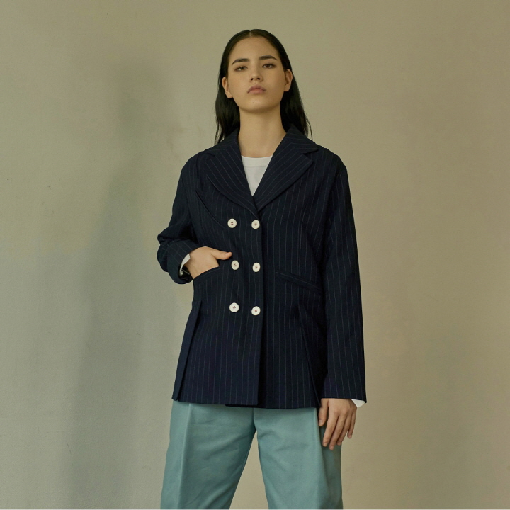 STRIPE OVERFIT DOUBLE JACKET
