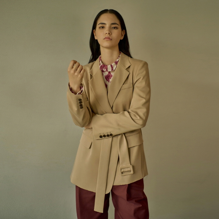 UNBALANCE BELTED OPEN JACKET