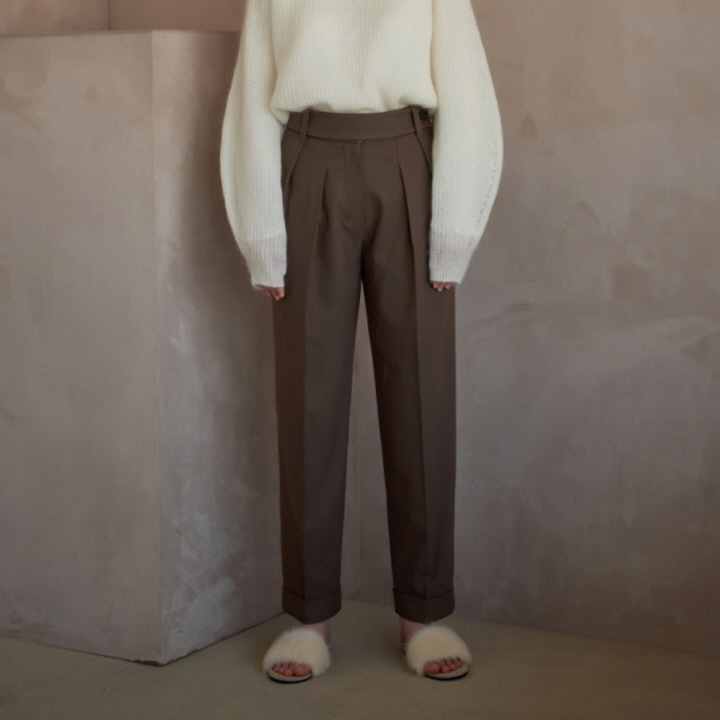 WOOL BLEND TWO-TUCK HIGHWAIST SLACKS