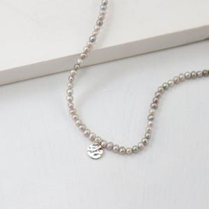 Luna Grey pearl necklace[In59 Silver]