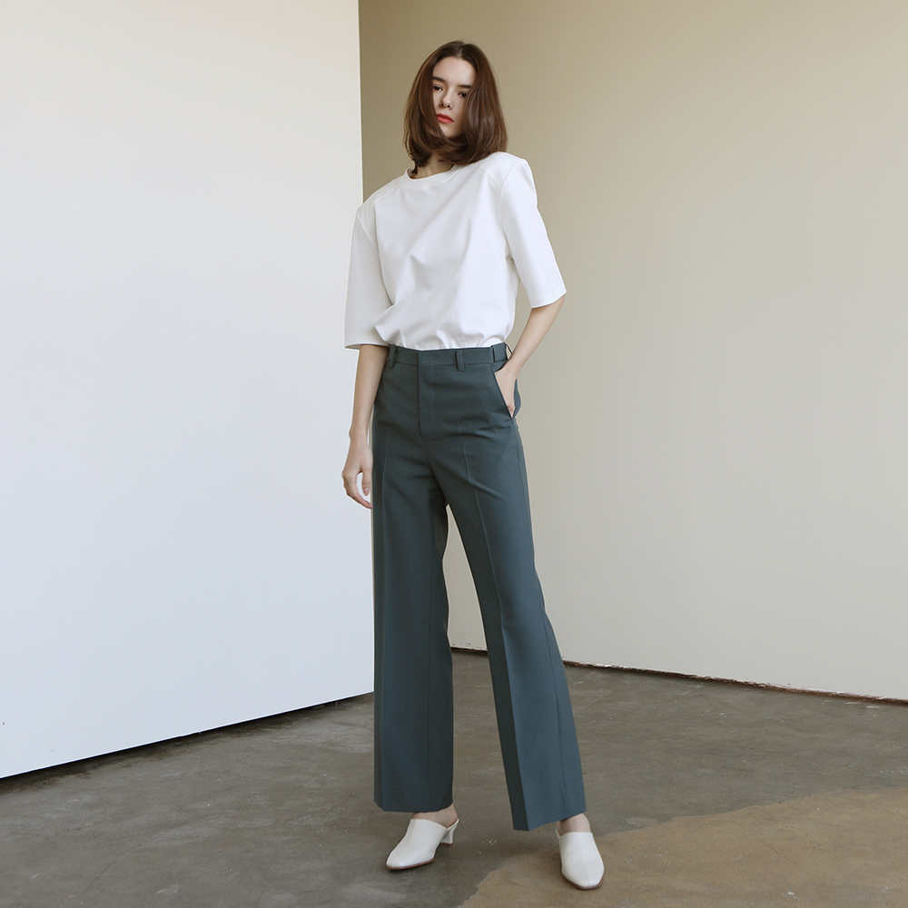 Hidden banding straight pants_Sage green
