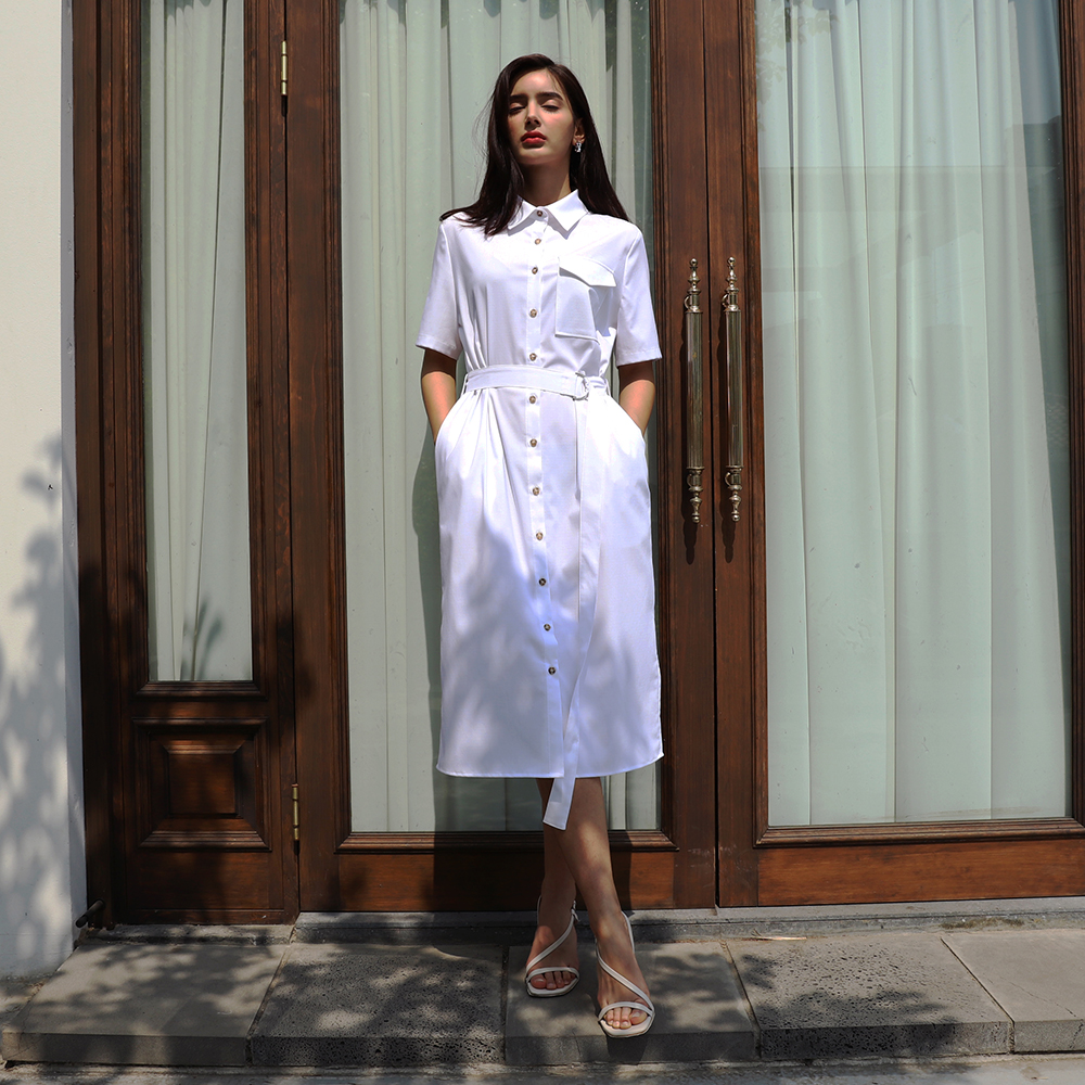 shirt belted one-piece_White