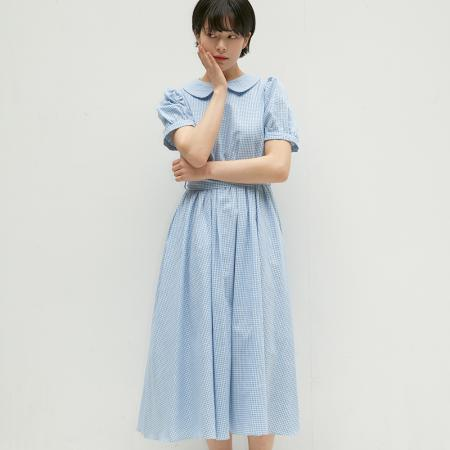 ROUND COLLAR FLARE ONE-PIECE HALF SLEEVE CHECK BLUE