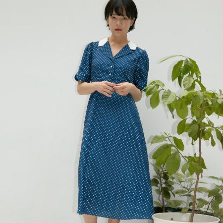 TAILORED COLLAR ONE-PIECE HALF SLEEVE DOT BLUE