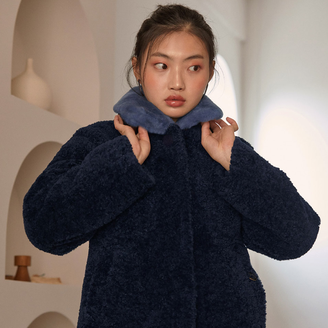 real fur collar jacket_navy