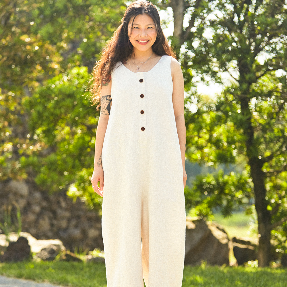 natural linen jumpsuit