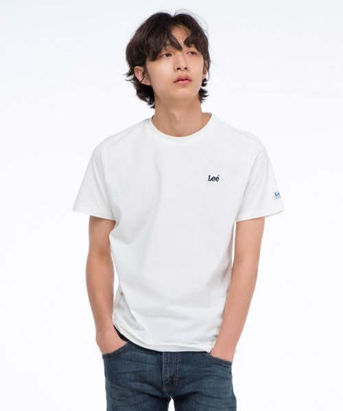 [LEE]자수 스몰 로고 반팔티 EMBROIDERED SMALL LOGO  HALF TEE-WHITE