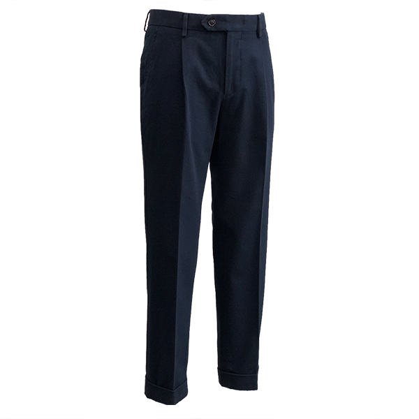 Cotton Garment washed Trousers (Navy)
