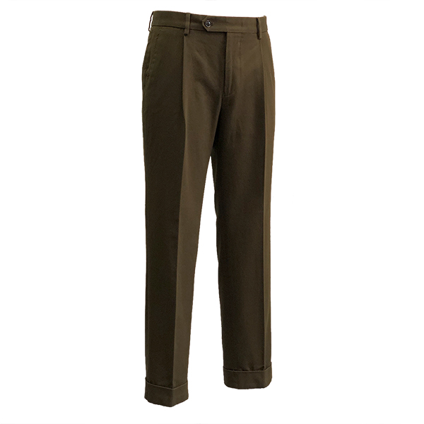 Cotton Garment washed Trousers (Brown)