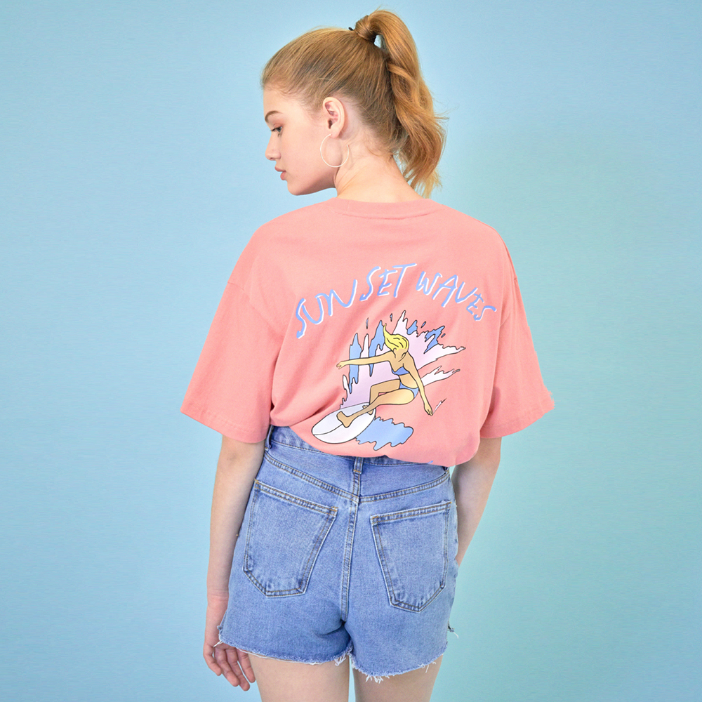 [클리프]SUNSET WAVE T-SHIRT _ CORAL PINK